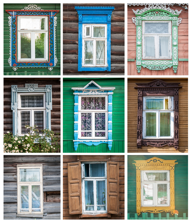 Collage made of different windows of traditional russian houses. All photos from Golden Ring towns in Russia.